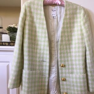 Celine checkered wool bouclé plaid jacket